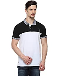 ODAKA Men's Cotton White & Black Striped Collar Cut & Sewn Polo_1968122031