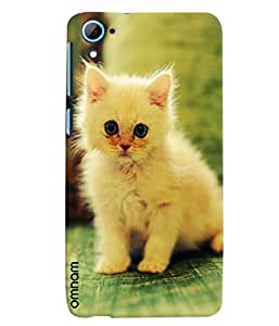 Omnam Beautiful White Cat Lying On Green Base Printed Designer Back Cover Case For HTC Desire 826