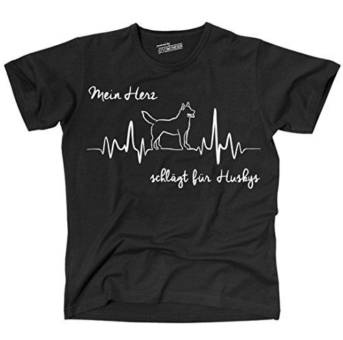 Siberian Husky Hund T-shirt (Siviwonder Unisex T-Shirt SIBERIAN HUSKY Heartbeat Herz EK Lustig funny dog Hunde schwarz XXL)