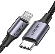UGREEN USB C to Lightning Cable[MFi Certified]Braided USB-C to iPhone Lightning Cable18WFastPD & Data Sync
