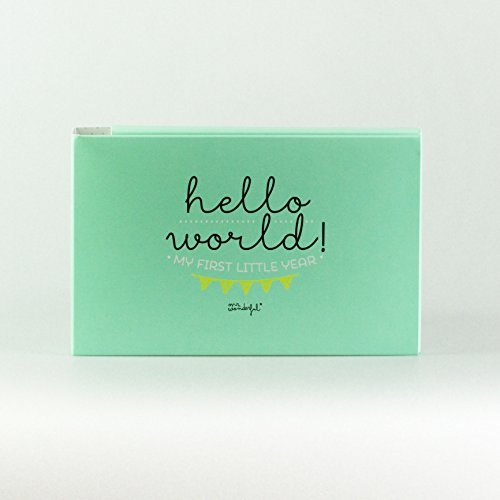 Mr. Wonderful Álbum para Bebé con Mensaje Hello World my First Year, Papel,...
