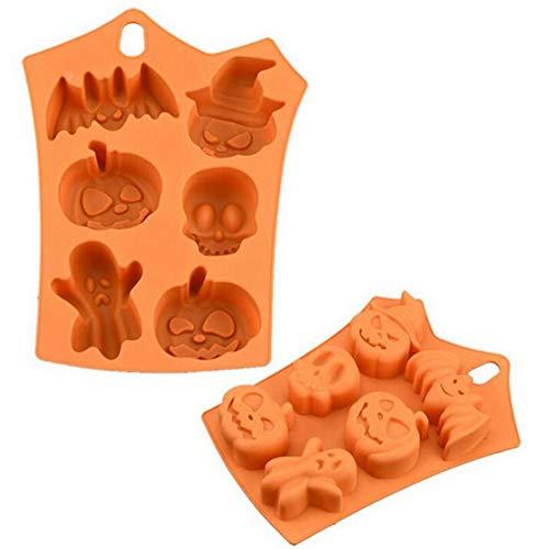 AWFAND Stampo per Cioccolato in Silicone Motivo Halloween, Stampo per Gelatina con stampi in Silicone Assortiti, Tema Halloween, Arancio, 23 x 17 cm