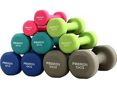 PROIRON Kurzhanteln Hanteln Übung Neopren Hantel 5 Gewichts- und Farbvarianten (2er-Set) von Shanxi regent works inc.