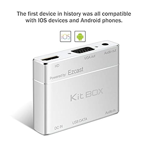 kitbox s8-pro Screen mirroring Écran EZCast Dongle récepteur portable Wired 1080P HD Screen Share from iPhone, iPad, Samsung Android Smart Devices to TV, moniteur or projecteurs, argent, 1