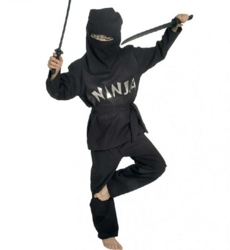Gürtel Ninja (Fasching Karneval Kostüm Black Ninja, 2-tlg. mit Gürtel + Haube: Größe:)