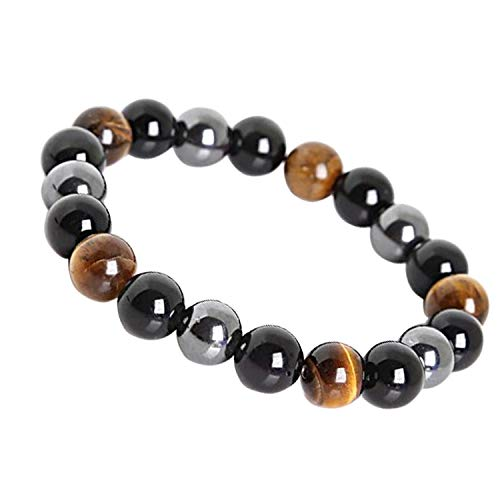 LY Show Tiger Eye Triple Protection Bracelet hématite et Obsidienne Noire(8mm)