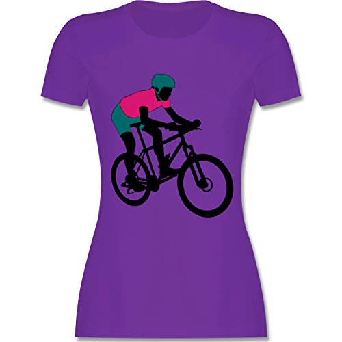Radsport - Mountainbike MTB Geländefahrrad - tailliertes Premium T-Shirt mit Rundhalsausschnitt für Damen Lila