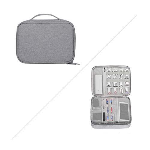 YQCSLS Übergroße tragbare Doppelschicht-Reisekoffer-Aufbewahrungstasche Elektronisches Zubehör, Ladegerät, Mobile Festplatte, Tablet, Datenkabel-Aufbewahrungstasche