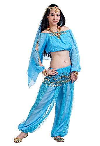 Jasmin Kostüm Damen Jeannie Kostüm Damen Erwachsene Indische Bauchtänzerin Kostüme Blue