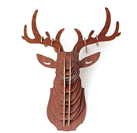 URGrace 1Pcs 3D hölzerne Tier Elch Deer Kopf Kunst Modell Skulptur Figuren DIY Montage Puzzle Ornamente Home Wand hängende Dekoration Geschenke