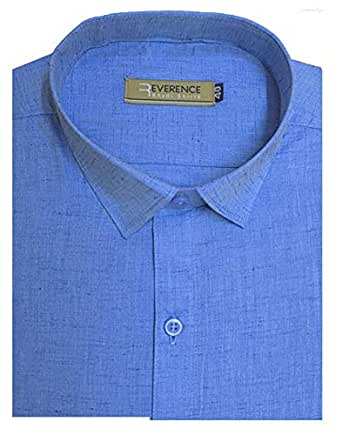 Reverence - Men's Full Sleeves, 100% Cotton Shining Silk, Formal Shirt, Brand Cotton Silk (31BU, F38) Blue