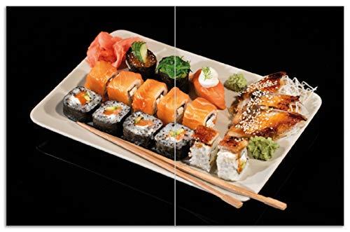 Wallario Herdabdeckplatte/Spritzschutz aus Glas, 2-teilig, 80x52cm, für Ceran- und Induktionsherde, Motiv Sushi-Menü mit Inside-Out Sushi, Nigiri und Wasabi