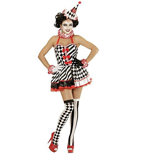 Widmann 02301 - Erwachsenenkostüm Pierrot Girl, Kleid, Halskrause, Manschetten und Mini Hut, Größe (Und Weiße Maske Pierrot Schwarze)