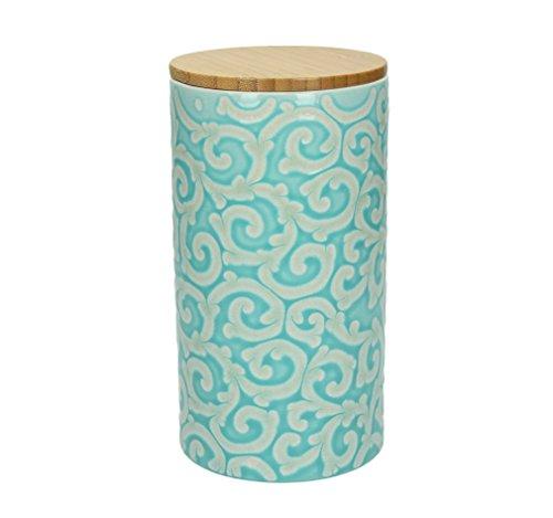 dose 500 gr. DAMASCO, 1270 ml., 19 cm hoch, Keramik, türkis-weiß, wundervoll gearbeitete Ornamente mit erhabenener Struktur von TOGNANA ()
