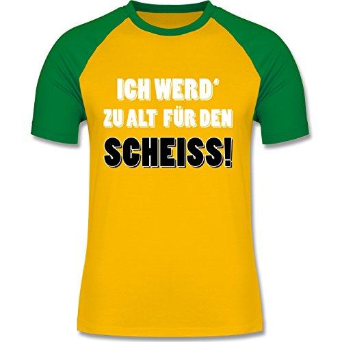 Statement Shirts - Ich werd' zu alt für den Scheiss! - zweifarbiges Baseballshirt für Männer Gelb/Grün