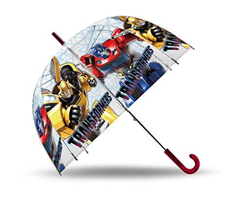 Kids Paraguas Transparente Cupula 48cm Manual Transformers