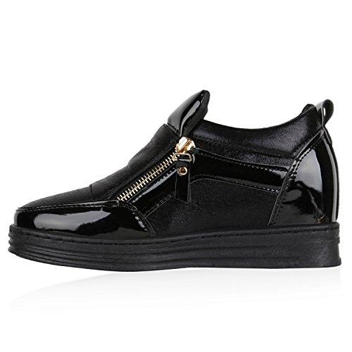 Damen Sneakers Keilabsatz Sneaker-Wedges Lack Metallic Schuhe Schwarz Lack