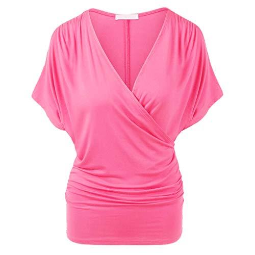 Damen Falten Kurzarm Tunika Batwing V-Ausschnitt Bluse, Rovinci Frauen Sommer Einfarbig Oberteile Übergröße Asymmetrisch Stretch Casual T-Shirt Shirt Bluse Tops Pulli Hemd Blusenshirt Longshirt