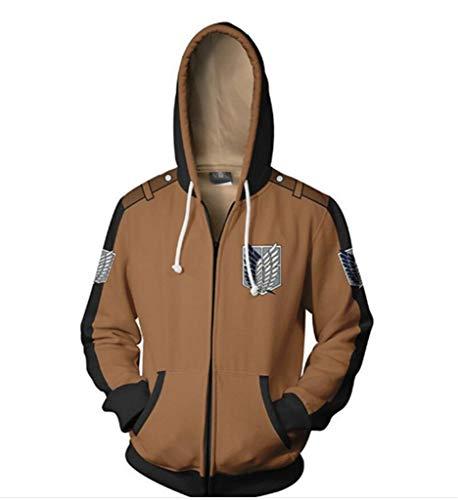 Cosstars Attack on Titan Anime Kapuzenpullover Sweatshirt Cosplay Kostüm AOT Zipper Hoodie Pulli Jacke Fitness Sport Gym Braun ()