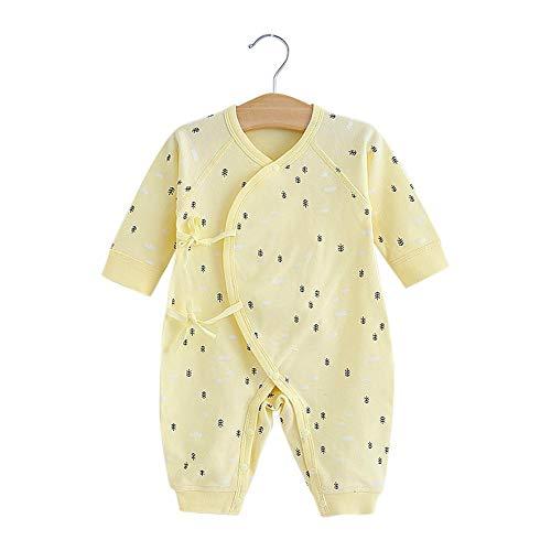 Kleinkind Langarm Overall Kleinkind Cartoon Muster einteiliges Outfit aus weicher Baumwolle Baby Strampler(59-Gelbe Fischgräte) -