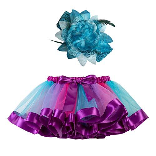 Amphia - (2J-11J Karnevalskostüm für Kinder - Rainbow Tutu + Hair Strap Zweiteiliges Set - Mädchen Kinder Tutu Party Dance Ballett Kleinkind Baby Kostüm Rock + Stirnband Set (Punk Rock Baby Mädchen Kostüm)