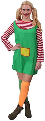 Freche Göre Kostüm Rot, Weiß & Grün für Damen | Größe 32/34 | 1-teilige Giftzwerg Kostümierung für Karneval | Zicken-Verkleidung für Fasching | Göre & Karnevalskostüm für Fastnacht & Mottopartys