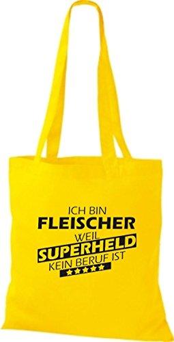 Shirtstown Stoffbeutel Ich bin Fleischer, weil Superheld kein Beruf ist gelb