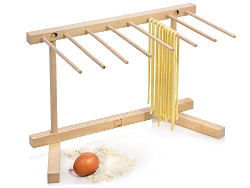 Sänger Pastatrockner XL Faltbar aus Holz Nudeltrockner | Gesamthöhe 30 cm | 8 abnehmbare Arme | Armlänge 20 cm | Stabile Basis zum problemlosen trocknen selbstgemachter Pasta