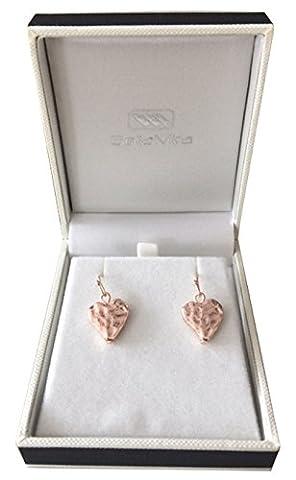 Bellamira Or rose Boucles d'oreilles cœur martelé élégant fine bijoux pour femmes filles Unisexe Porter en boîte cadeau de luxe