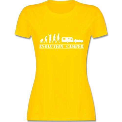 Evolution - Evolution Wohnwagen Weiß - Damen T-Shirt Rundhals Gelb