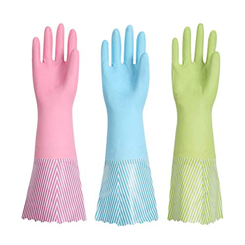 Supstar Rutschfeste Haushalt Küche Wäscheservice Gummi Latex Reinigung Abwasch Handschuhe mit Verdickung Weichen Faser Futter, Lange Manschette - L/3 Paare (Blau + Grün + Pink) -