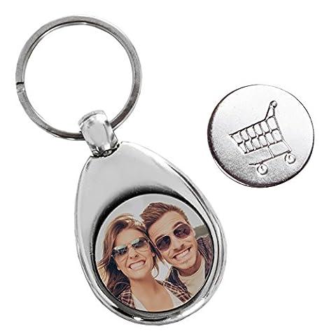 Personello® Schlüsselanhänger mit Foto und Einkaufschip (personalisiert mit Bild), Fotogeschenk, Anhänger silber aus Metall, für Schlüsselband, Auto, Motorrad oder Tasche, mit magnetischem Chip