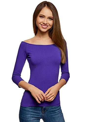 oodji Ultra Damen Tagless Schulterfreies T-Shirt mit 3/4-Arm, Blau, DE 34/EU 36/XS