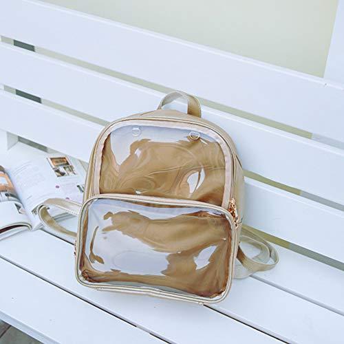 YSoutstripdu Women es Travel Bag Transparent Faux Leder Women Casual Jelly Jelly Backpack School Bag-Golden/White/Purple/Green/Blue/Blue/Black - Womens Blue Jelly