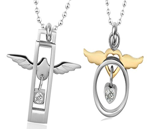 Unisex Acciaio inossidabile CZ Studded Hollow Circle Dove & Wing Ciondolo Cuore con la catena a caso di