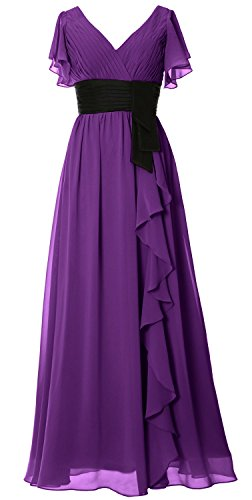 MACloth Women V Neck Short Sleeve Long Bridesmaid Dress Mother Formal Party Gown purple