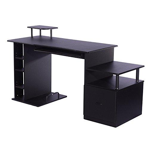 HomCom Mesa Ordenador Escritorio Oficina - Color Negro