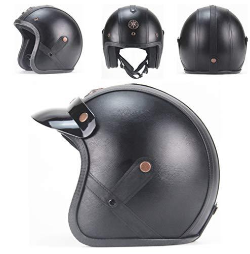 Erwachsene Retro Leder Pilot Motorradhelm Open Face Stoff Weichen Komfort Sicherheitskappen Unisex Leichte Anti Fall Professionelle Harley Helm Jahreszeiten Universal 55-63 cm -