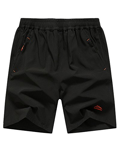 Liangzhu Pantalones Cortos para Hombre Deporte Cortos con Bolsa De Cremallera para Running Ciclismo Training Negro 2 M