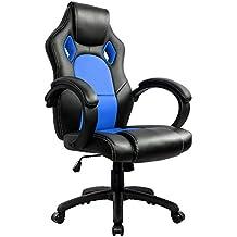 IntimaTe WM Heart Silla de escritorio de oficina de PU, Racing,asiento giratorio del escritorio del ordenador (Azul)