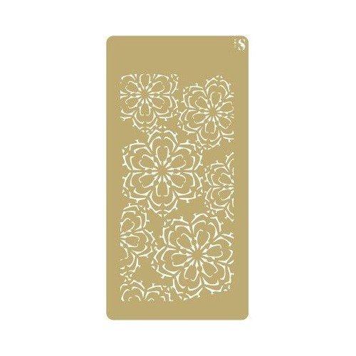 TODO-STENCIL Schablone, Dekoration, Sammelbücher, 055, florale Schneeflocken Größe der Schablone: 10 x 20 cm. Designgröße: 8 x 17 cm.