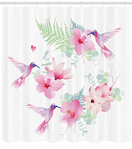 66x72 pollici tenda da doccia per colibrì,fiori tropicali con fiori di colibrì volanti natura selvaggia fiorisce,set di decorazioni per il bagno in tessuto di stoffa con ganci,viola rosa