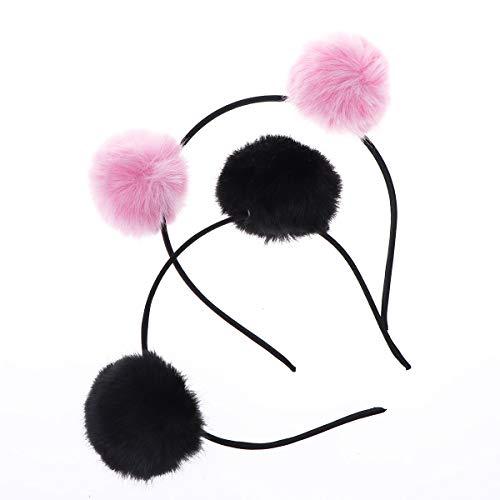Frcolor 2Pcs Adorable Fluffy Quaste Haarband, Katzenohren Zubehör Panda Stirnband Haarband Kostüm für Mädchen