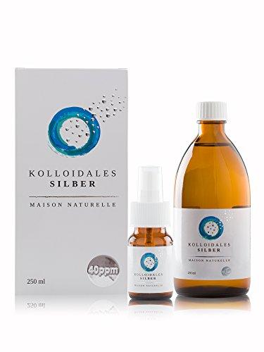 Kolloidales Silber 40 PPM - 250ml Silberwasser  kostenlose 30ml Sprühflasche  100% natürlich  MADE...