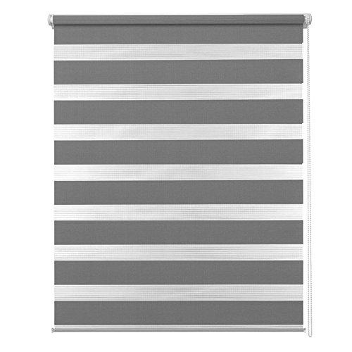 MCTECH® Doppelrollo Duo Rollo Klemmfix ohne Bohren Fenster-Rollo Springrollos mit Klemmträger (120 x 175 cm, Grau) -