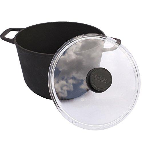 6L Kochtopf aus Gusseisen mit Glasdeckel Deckel Bräter Schmortopf Induktion eco