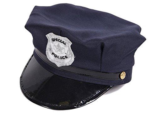 Blaue Kostüm Hut Polizei - Alsino Polizeimütze Kinder Polizeihut (176a) dunkelblau - Accessoire für Fasching Karneval Verkleidung, One Size Größe, flexibel für Kinder