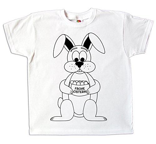 Pixkids Ostern Kinder T-Shirt Osterhase Zum bemalen und ausmalen mit Vordruck Zum Kindergeburtstag oder Als Ostergeschenk für Jungen und Mädchen (140)
