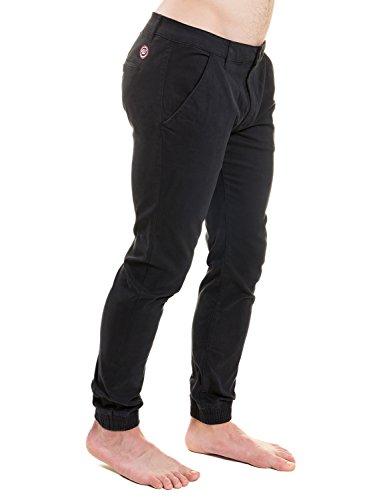 WOLDO Athletic Herren Chino Hose Stoffhose Jogger Sneaker Pants mit Bündchen Black