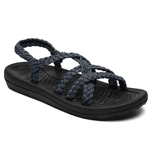 Wander-Sandalen mit Fußgewölbeunterstützung wasserdicht für Wandern/Reisen/Hochzeit/Wasserpunkt/Strand, Grau - dunkelgrau - Größe: 38 EU ()